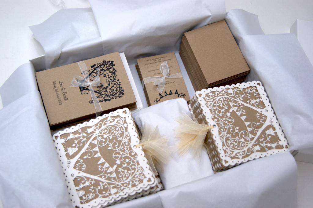 Laser cut vintage garden party wedding invitations wrapped & ready to leave the Hummingbird Cards studio!