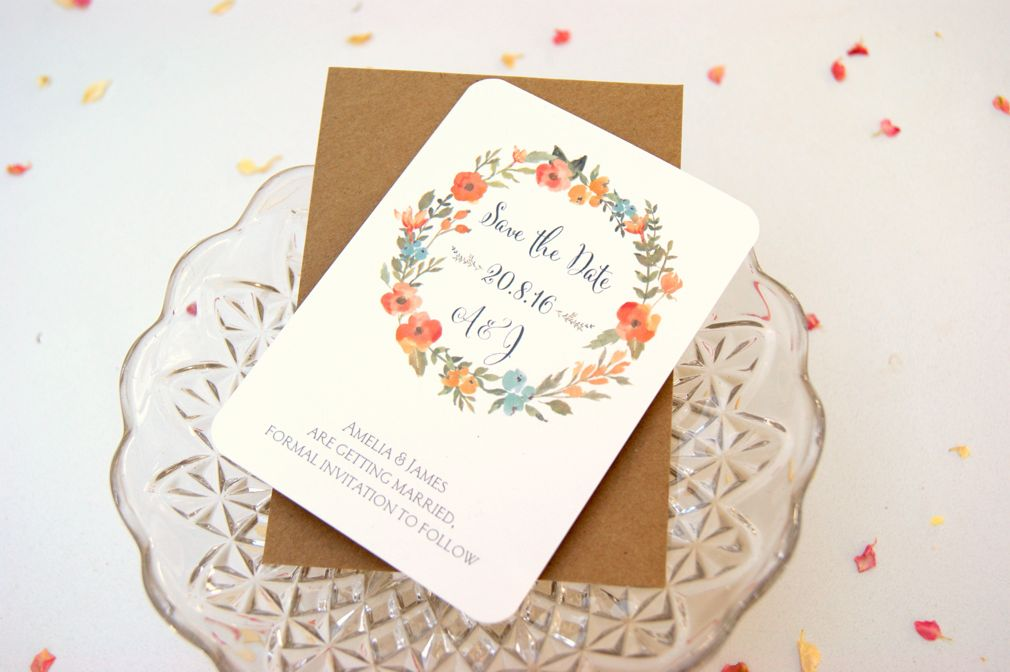Flower garland save the date card
