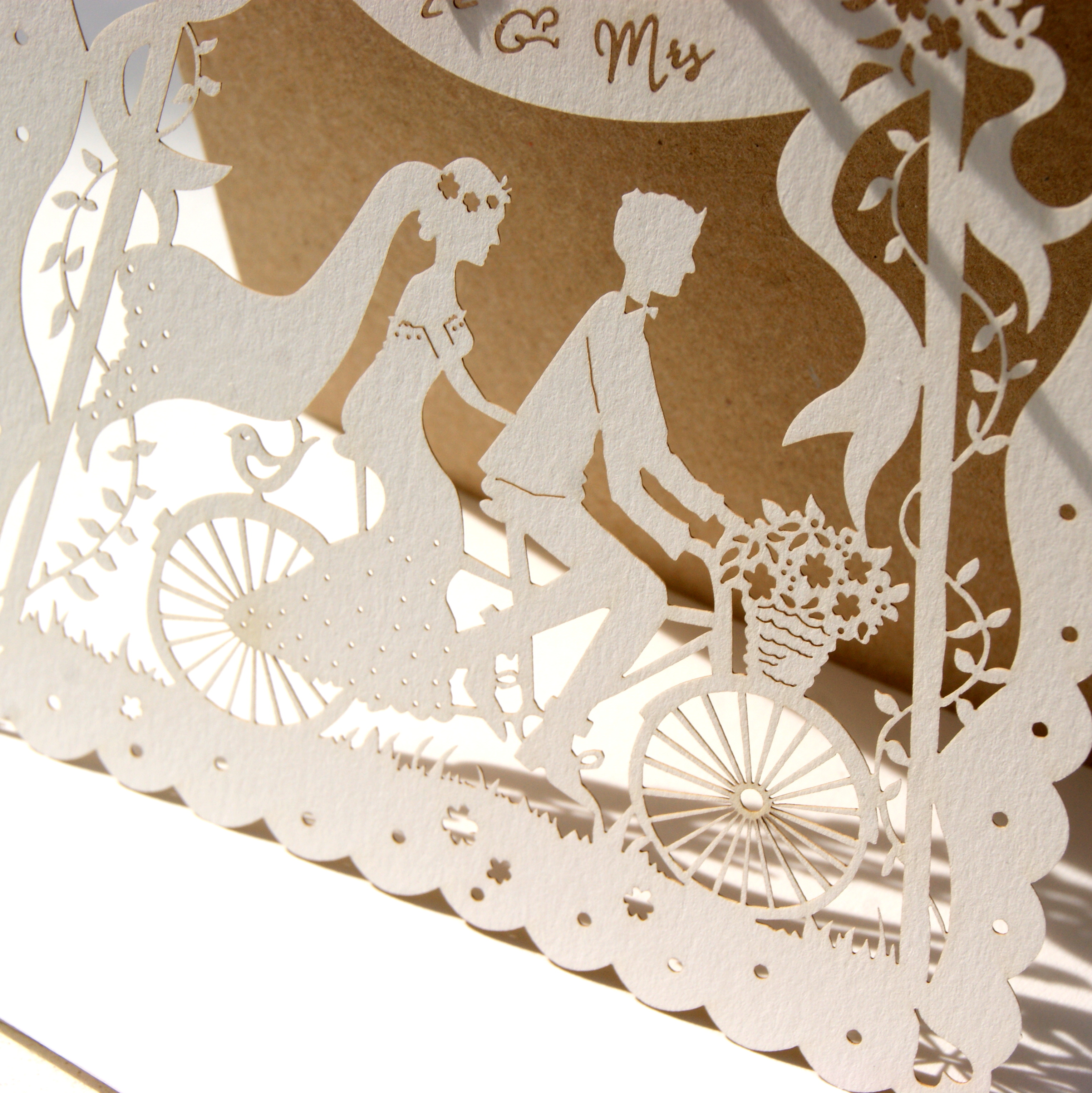 Bicycle For Two - laser cut wedding invitation