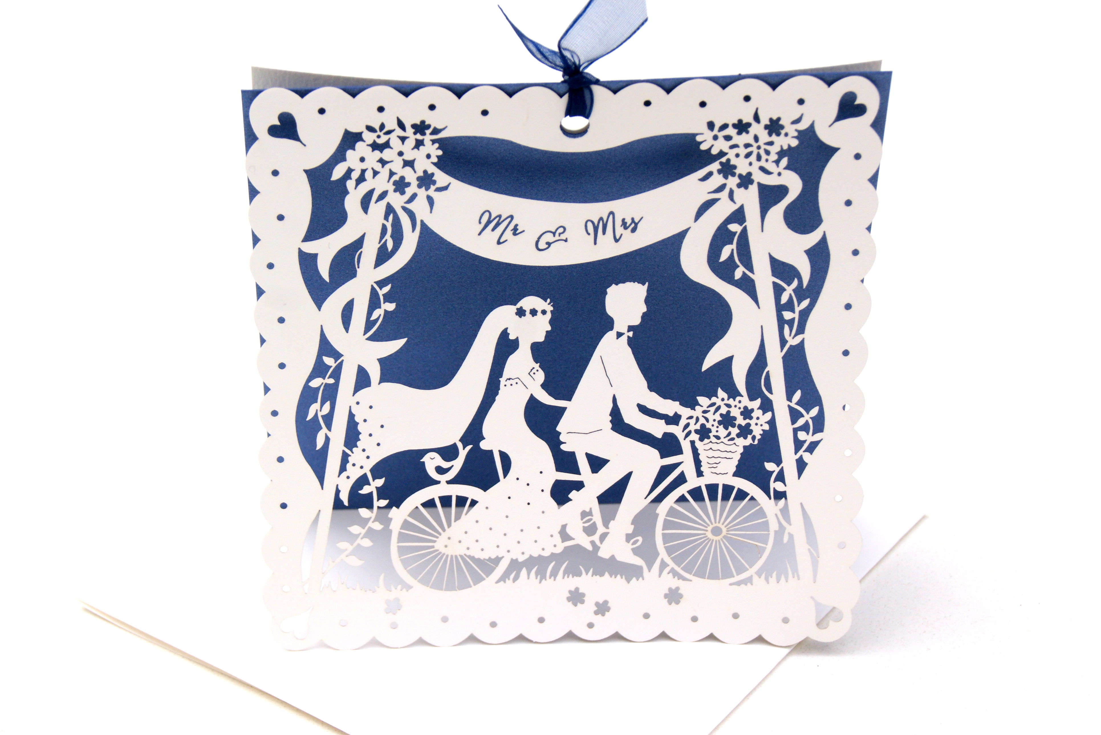 Bicycle For Two (blue) - laser cut wedding invitation