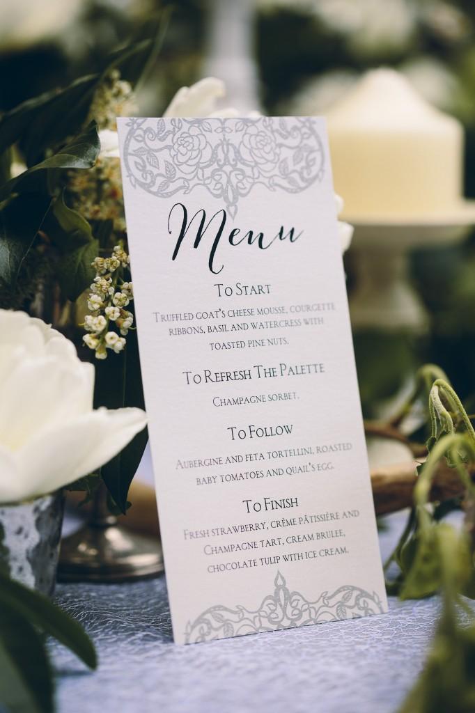 Printed wedding menu