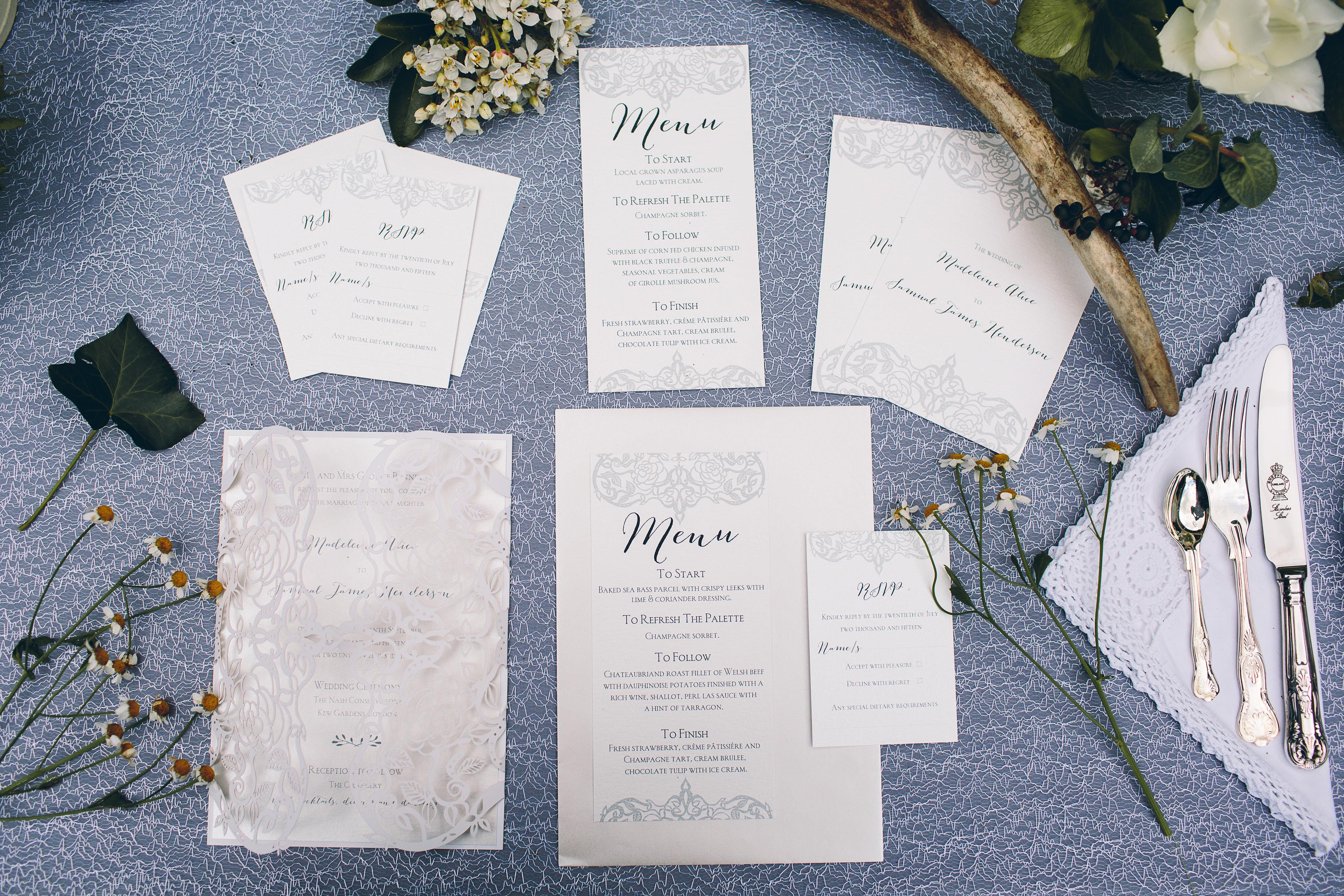 Printed & laser cut wedding stationery including menu