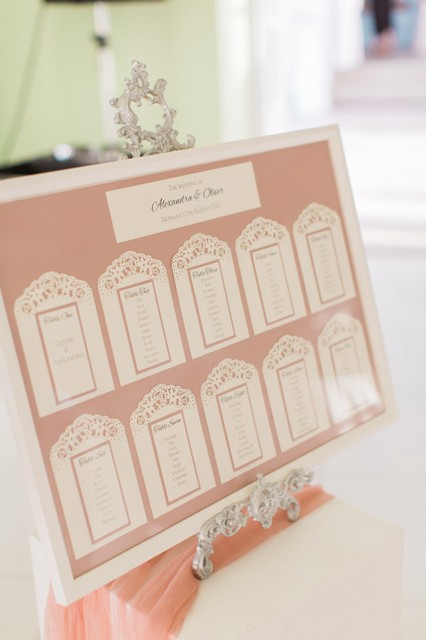 Doily Lace laser cut table plan in blush peach and ivory