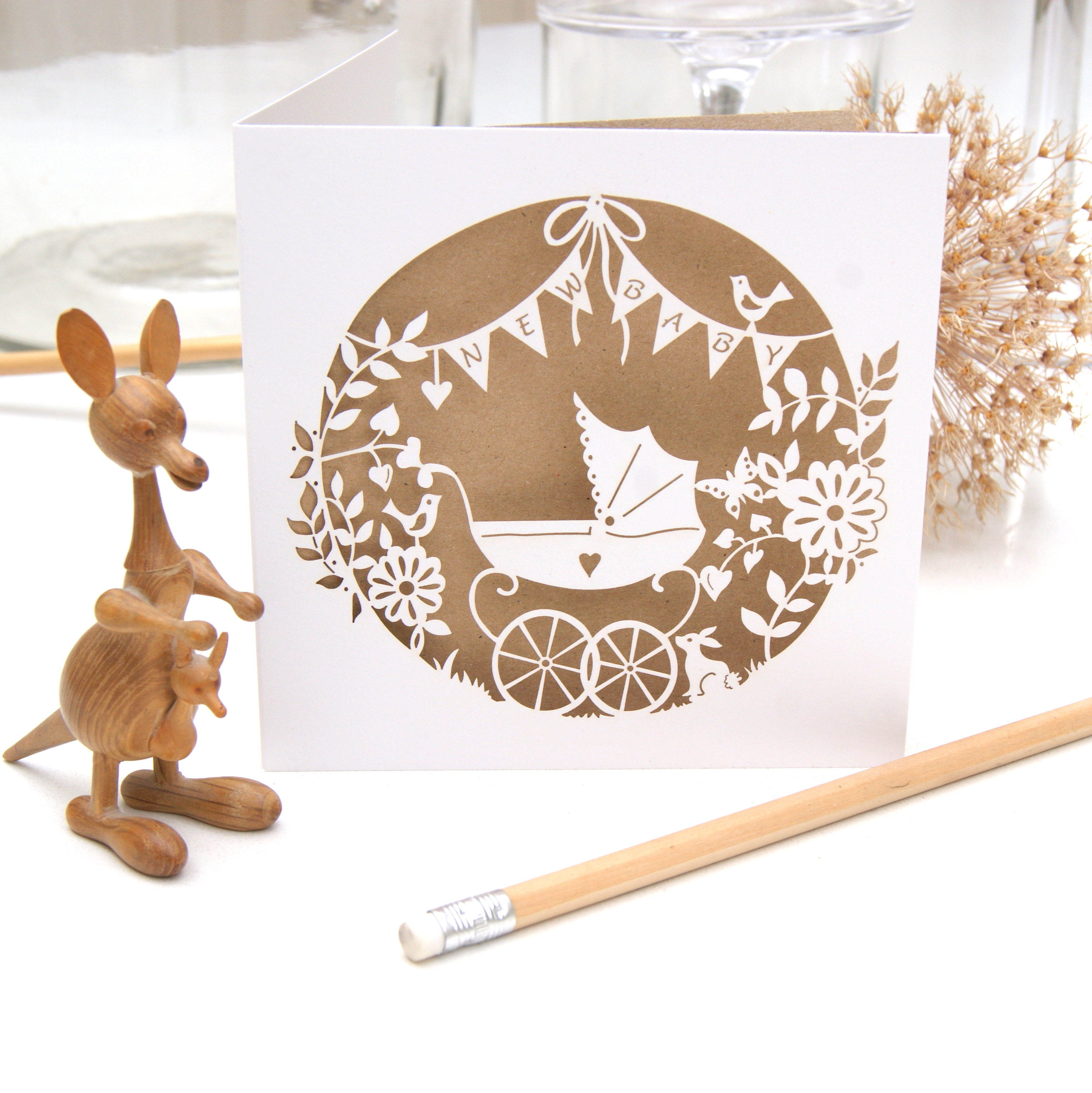 Laser cut new baby card