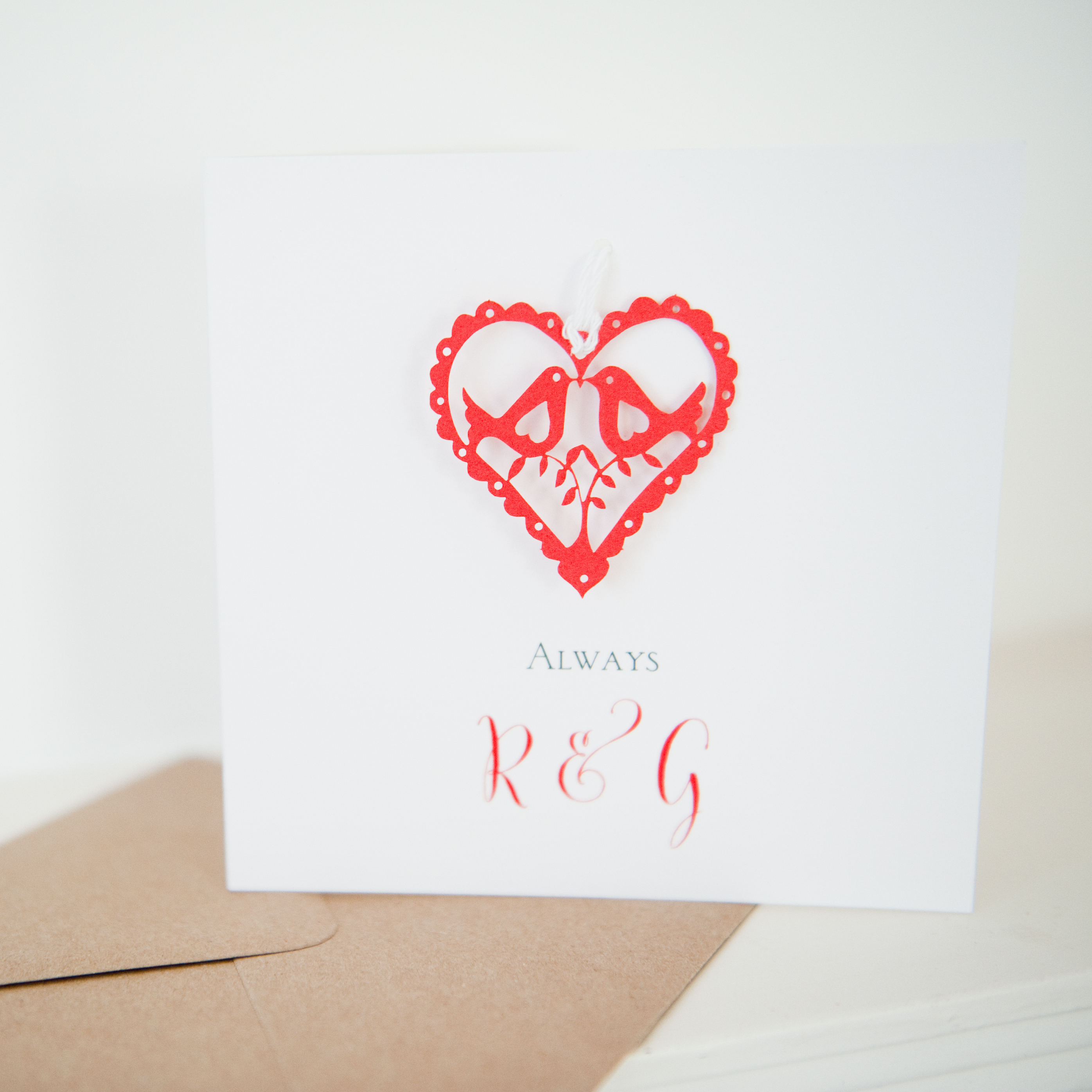 Personalised Valentines red love birds paper card