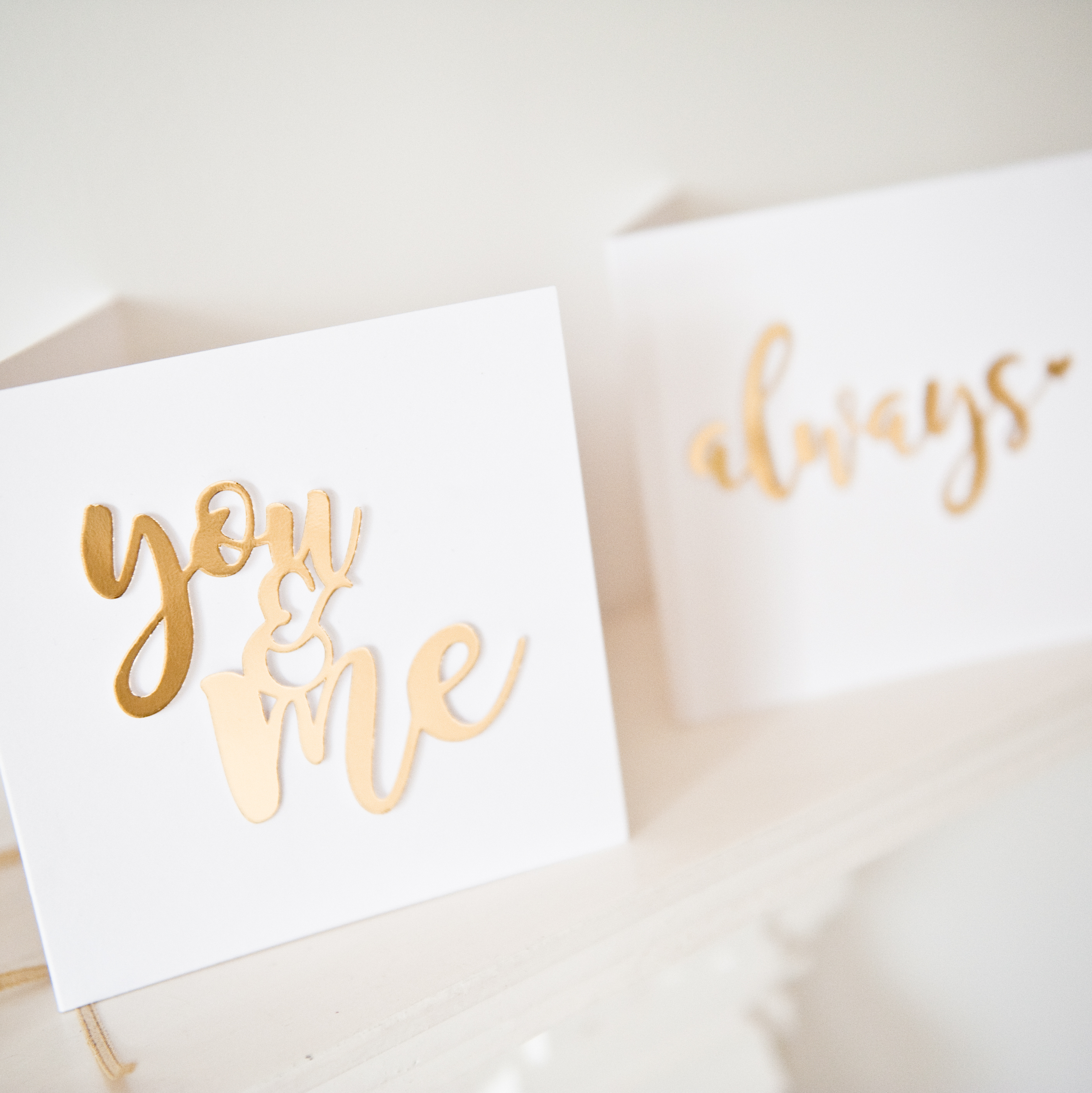 Valentines gold foil mirror paper cut You and Me card 1
