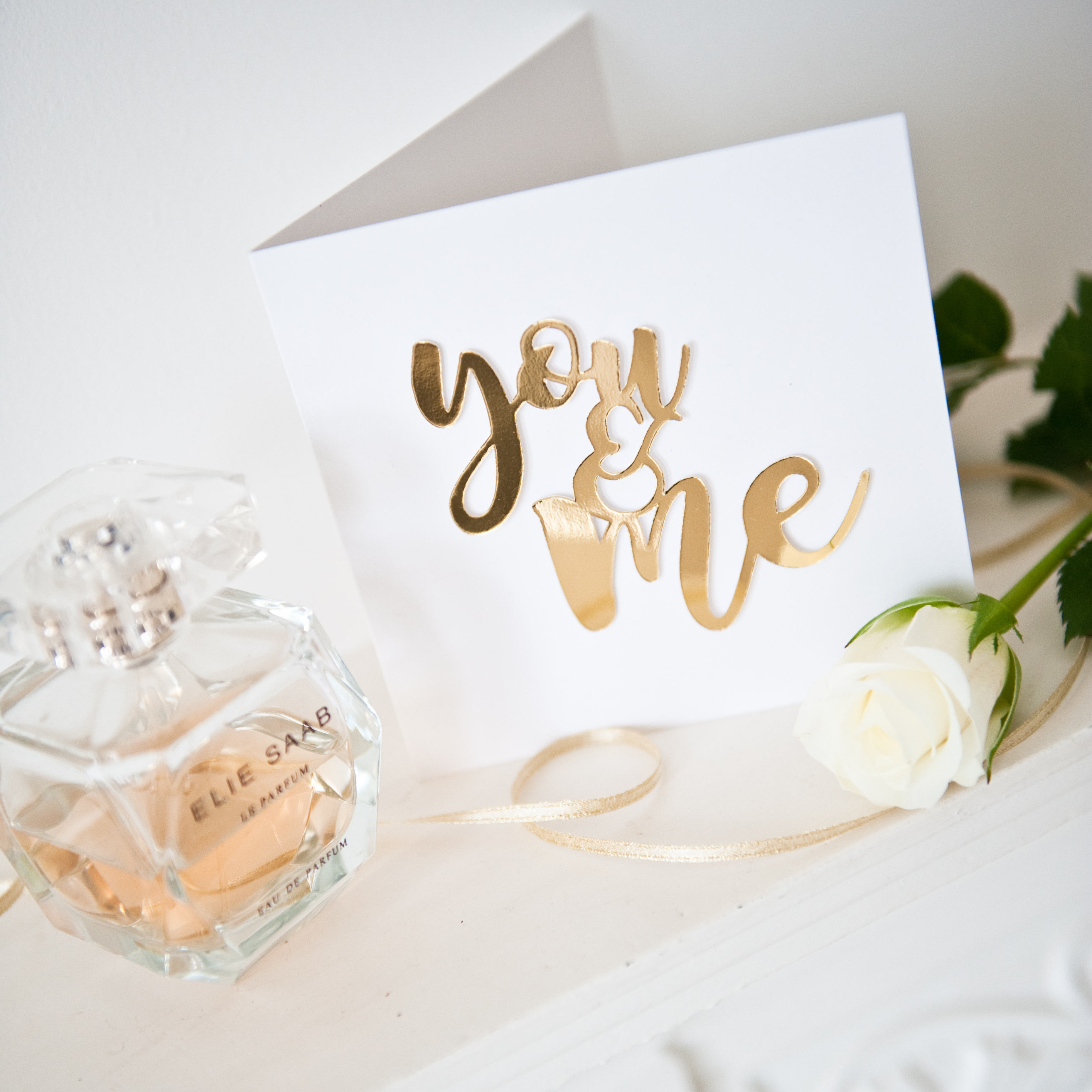 Valentines gold foil mirror paper cut You and Me card 2