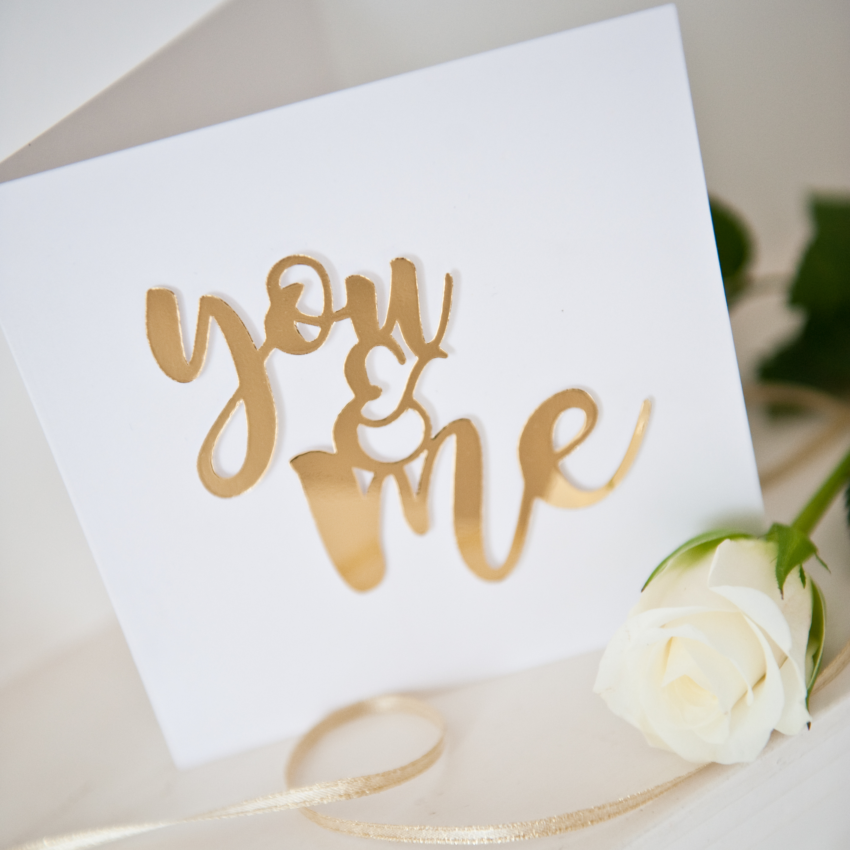 Valentines gold foil mirror paper cut You and Me card 3
