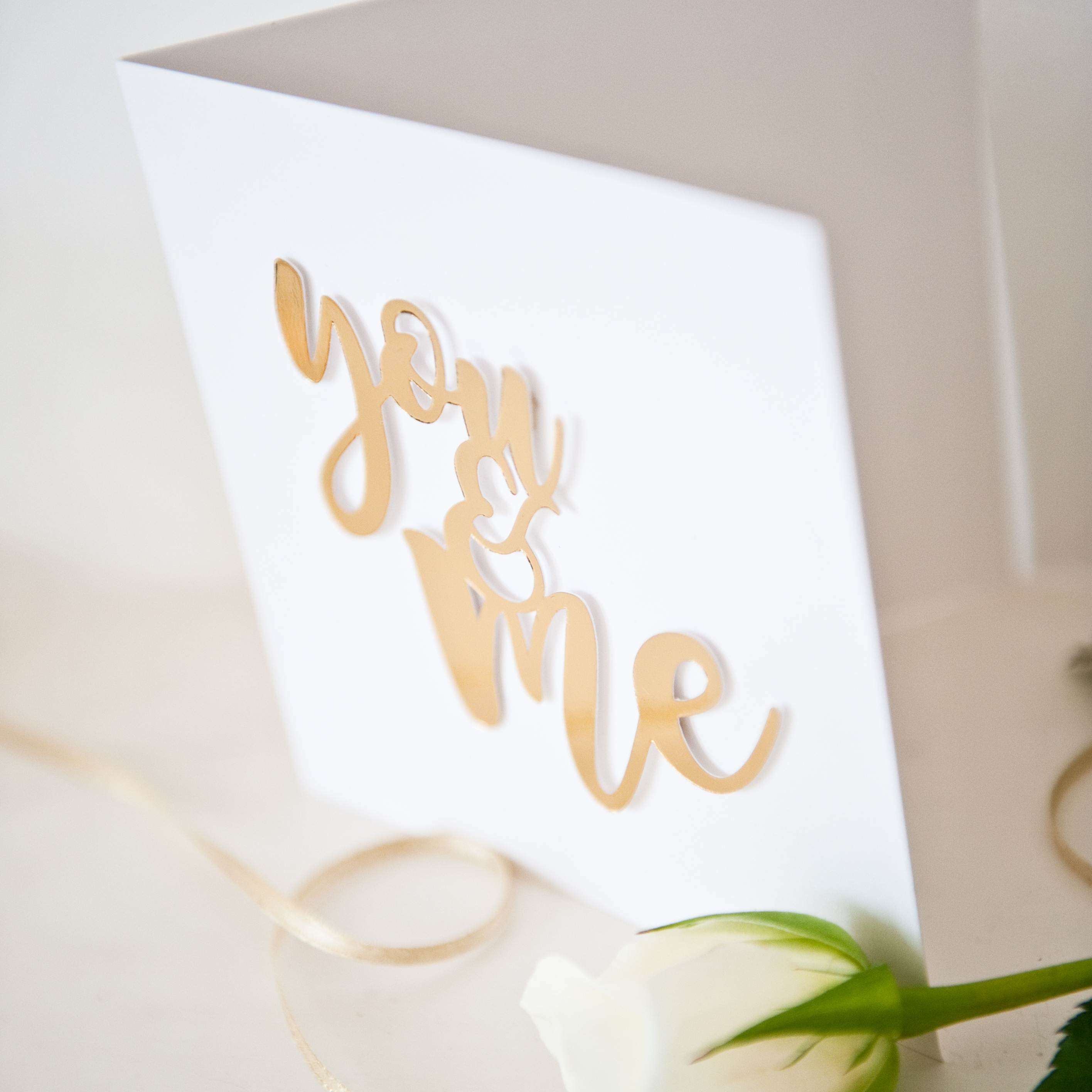Valentines gold foil mirror paper cut You and Me card 5