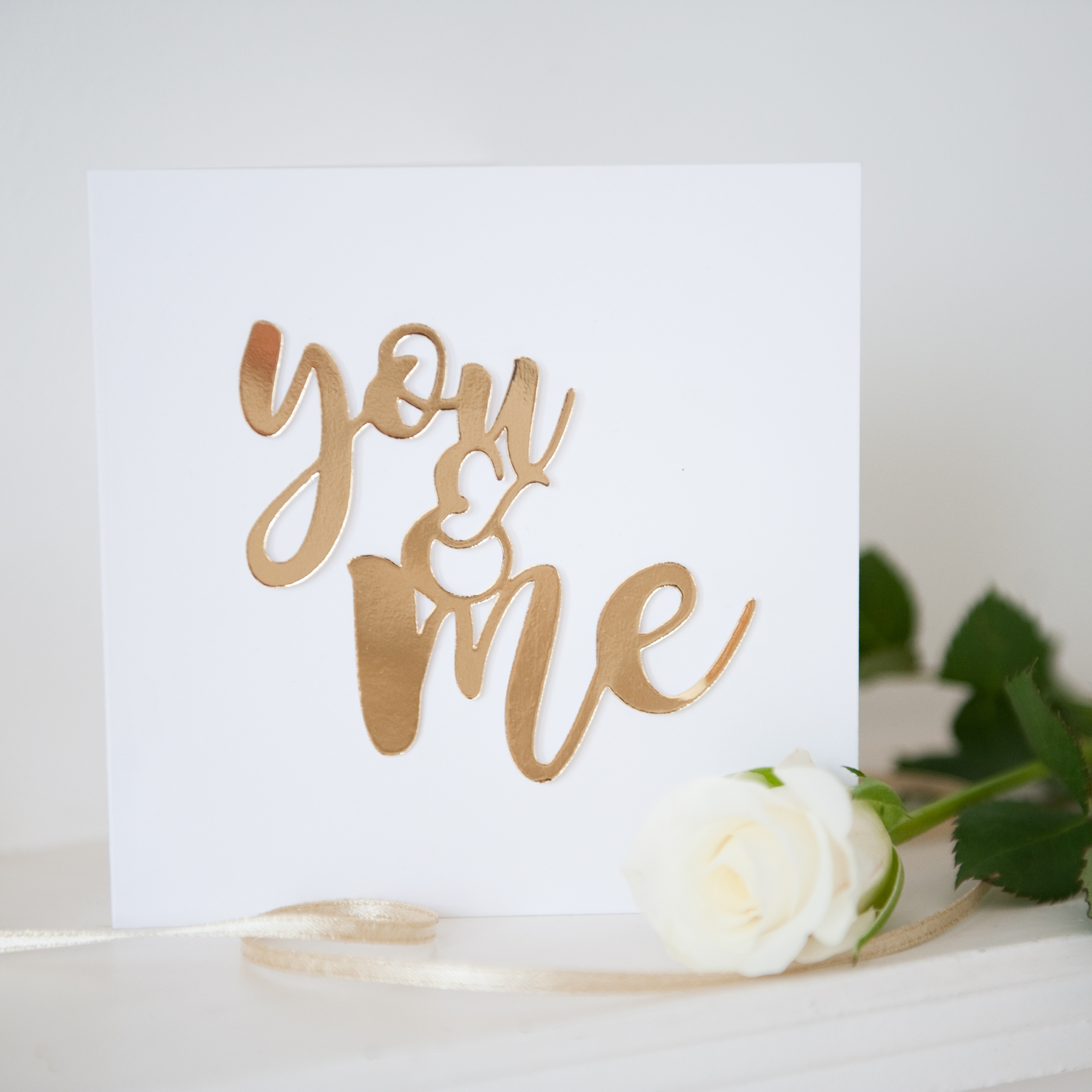 Valentines gold foil mirror paper cut You and Me card main