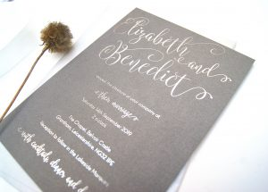 FOILED INVITE SILVER PEWTER