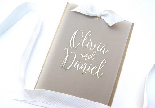 VELLUM LAYERED FOILED INVITE GOLD