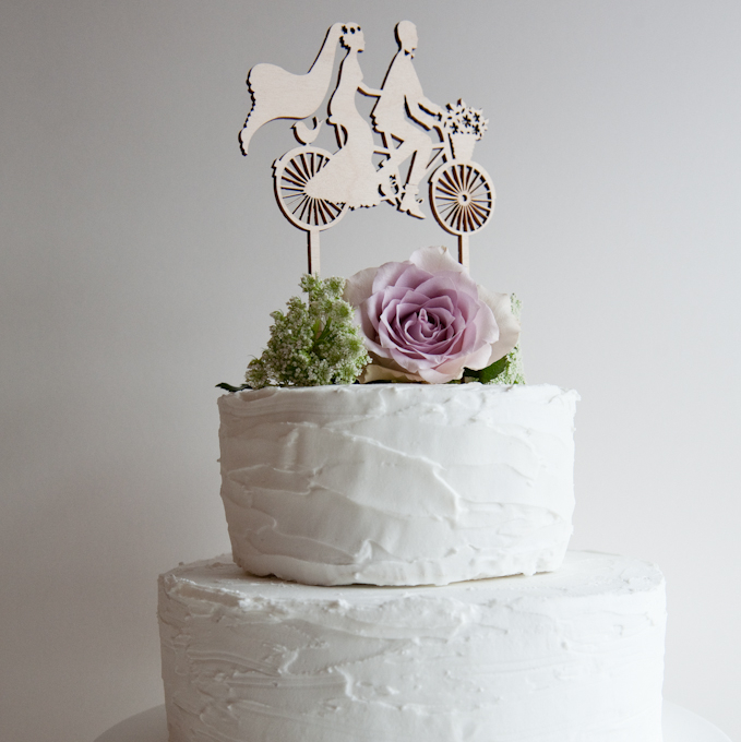 Wedding Cake Topper.Bicycle Made For Two Wooden Cake Topper