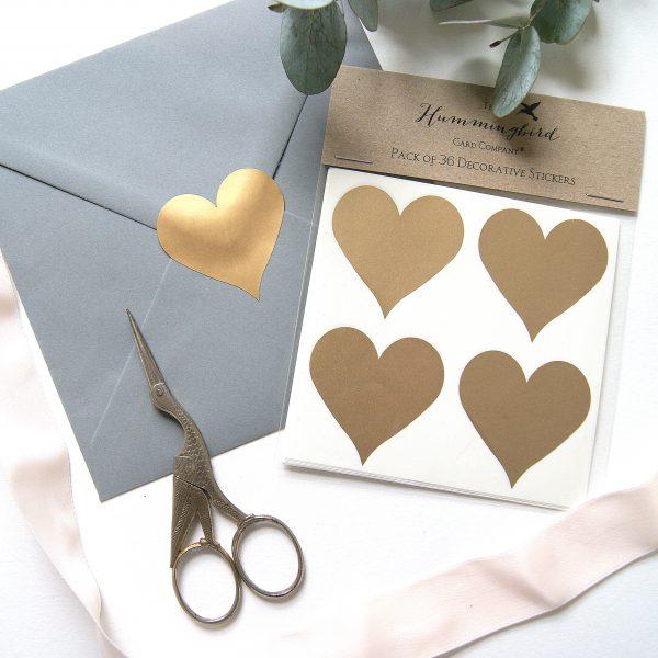 Gold Heart Decorative Stickers