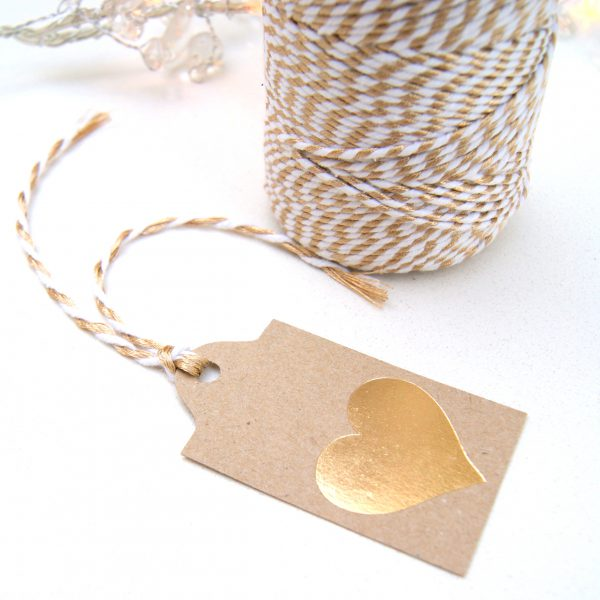 Gold foil heart eco craft gift tag with gold lurex twine