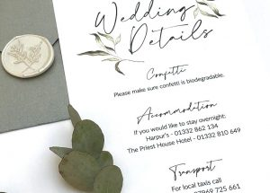 Greenery Weddng Details Card