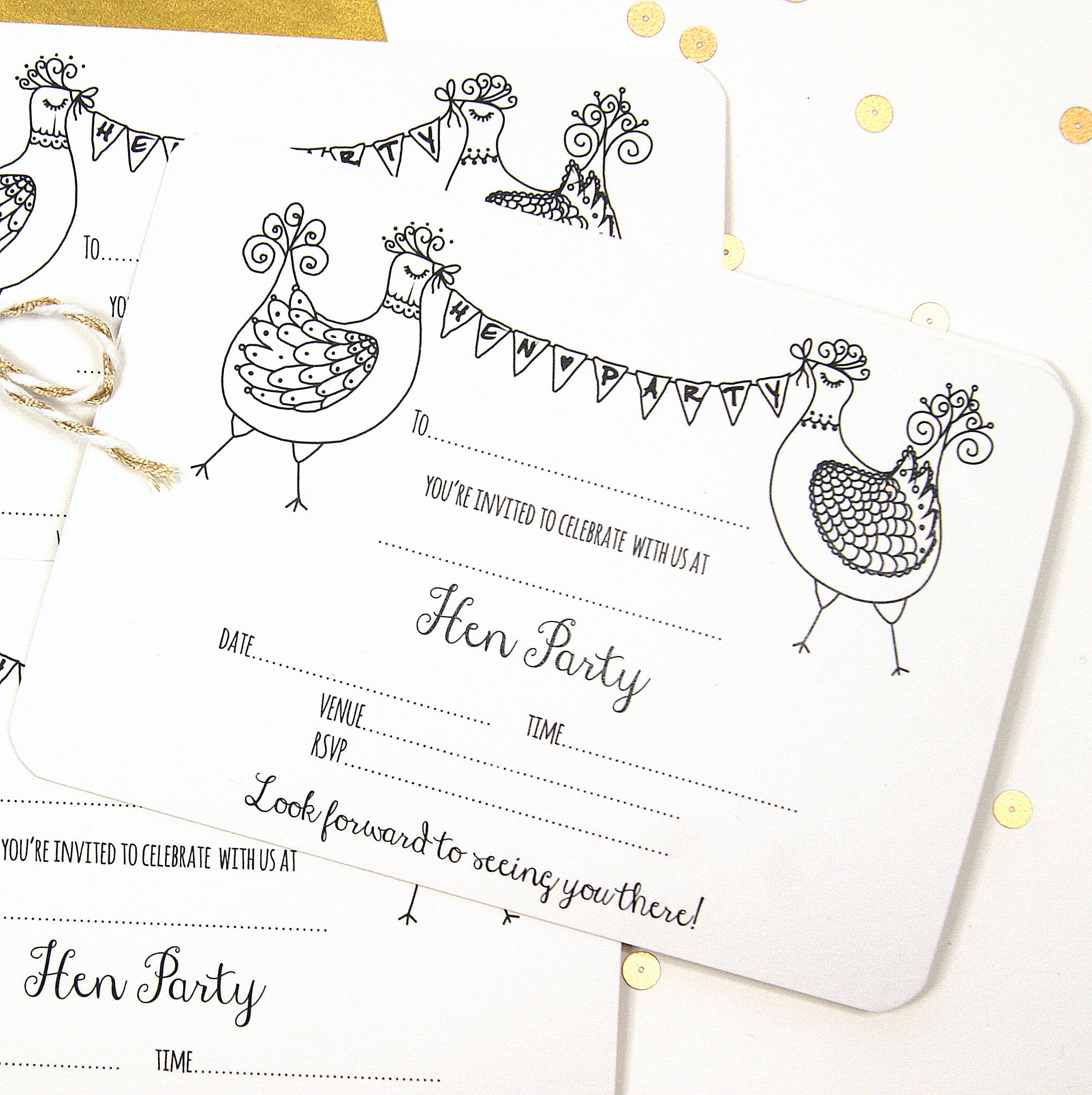 Hen Party Invitations Five Pack | Shop Online - Hummingbird Card ...