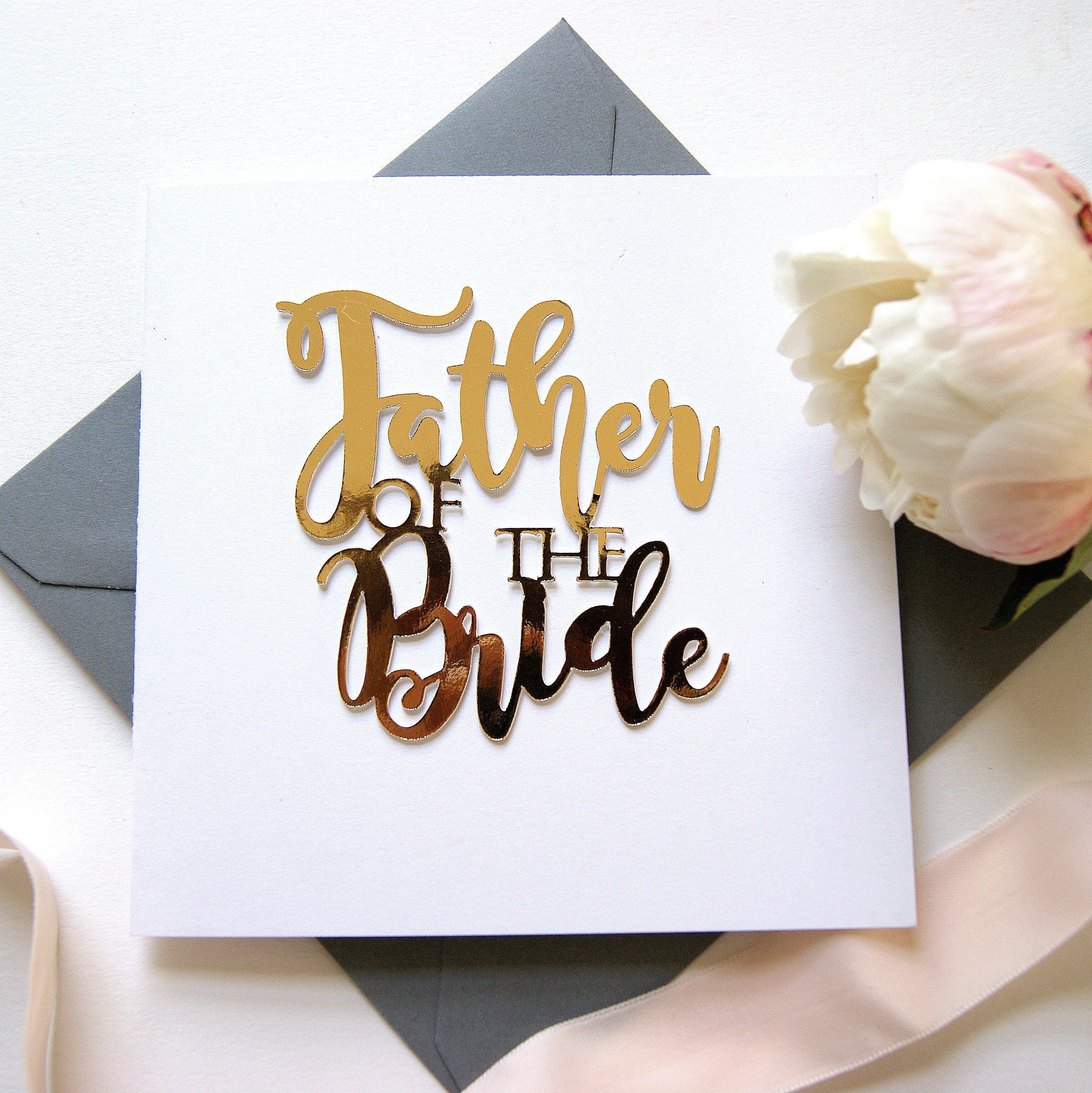 luxe father of the bride gold paper cut card