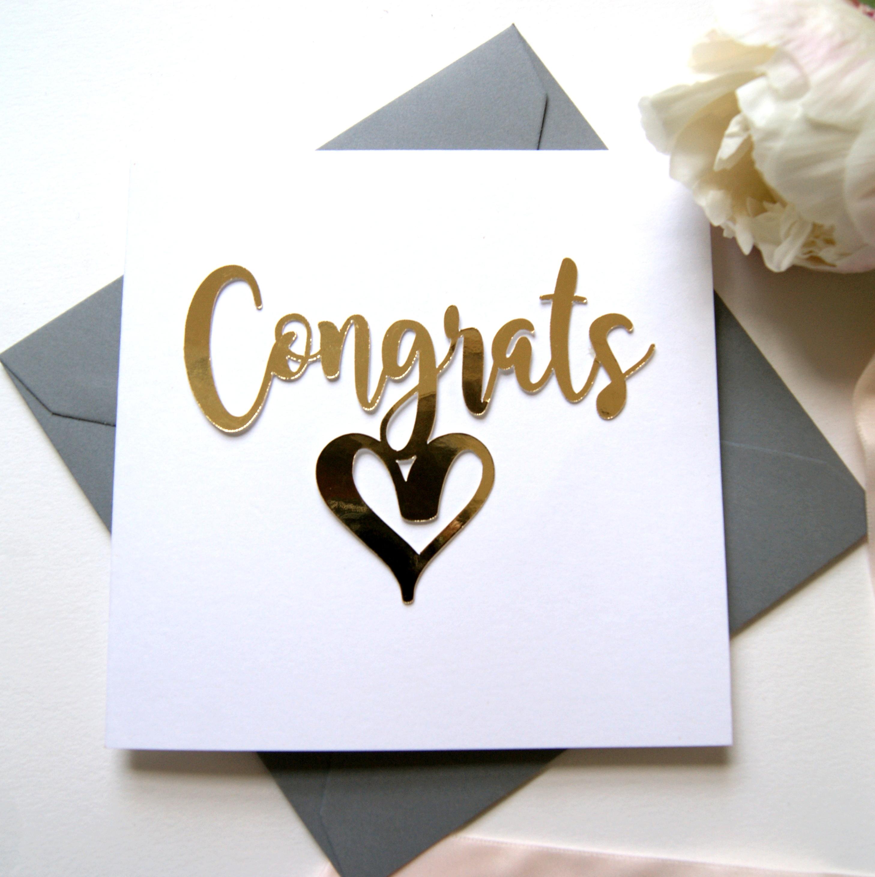 Congratulations Card Luxe Gold Shop Online Hummingbird Card Company