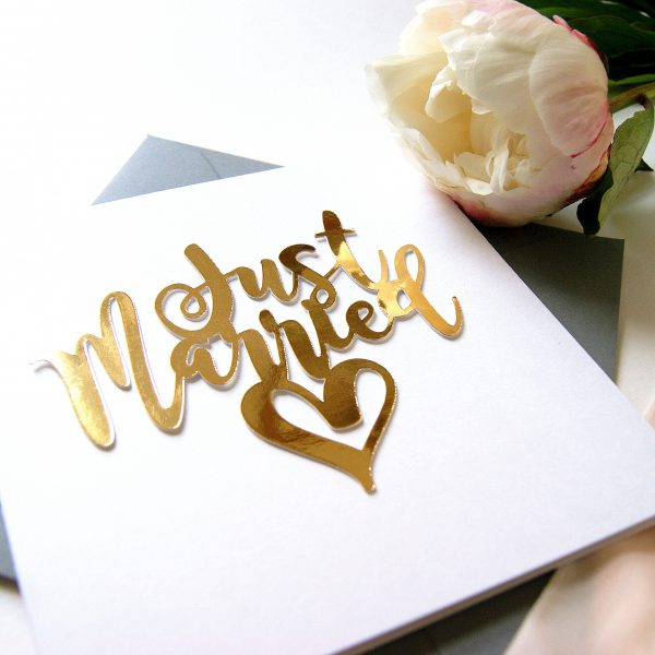 LUXE JUST MARRIED GOLD PAPER CUT CARD