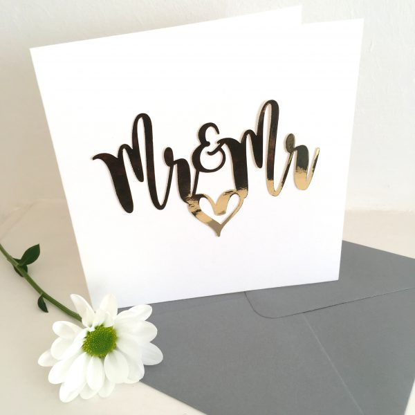 Mr and Mr gold mirror paper cut card