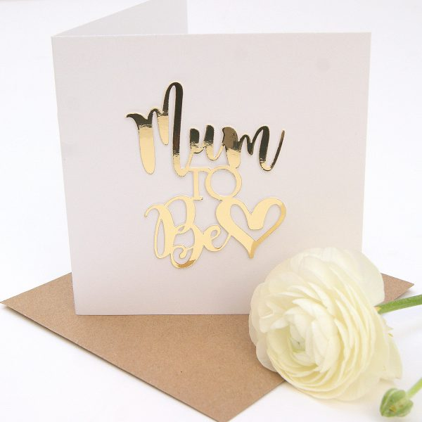 Mum to  Be mothers day card paper cut gold Hummingbird CardsC