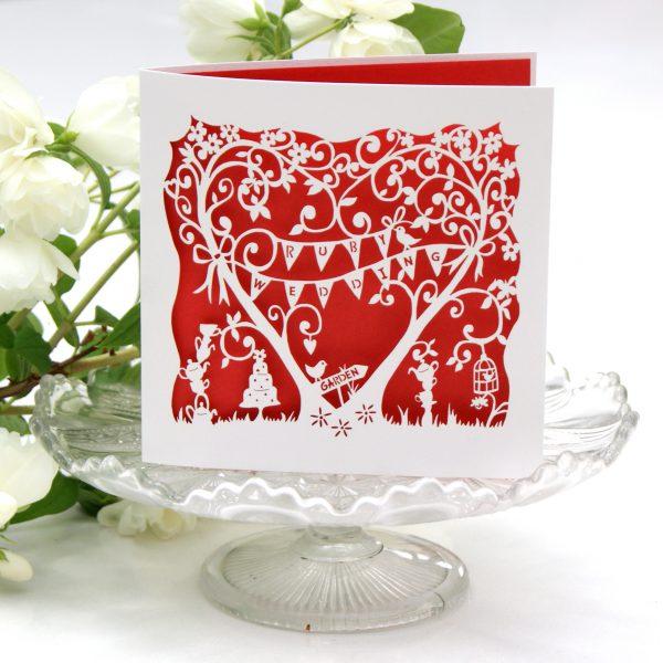 Ruby wedding anniversary laser cut card