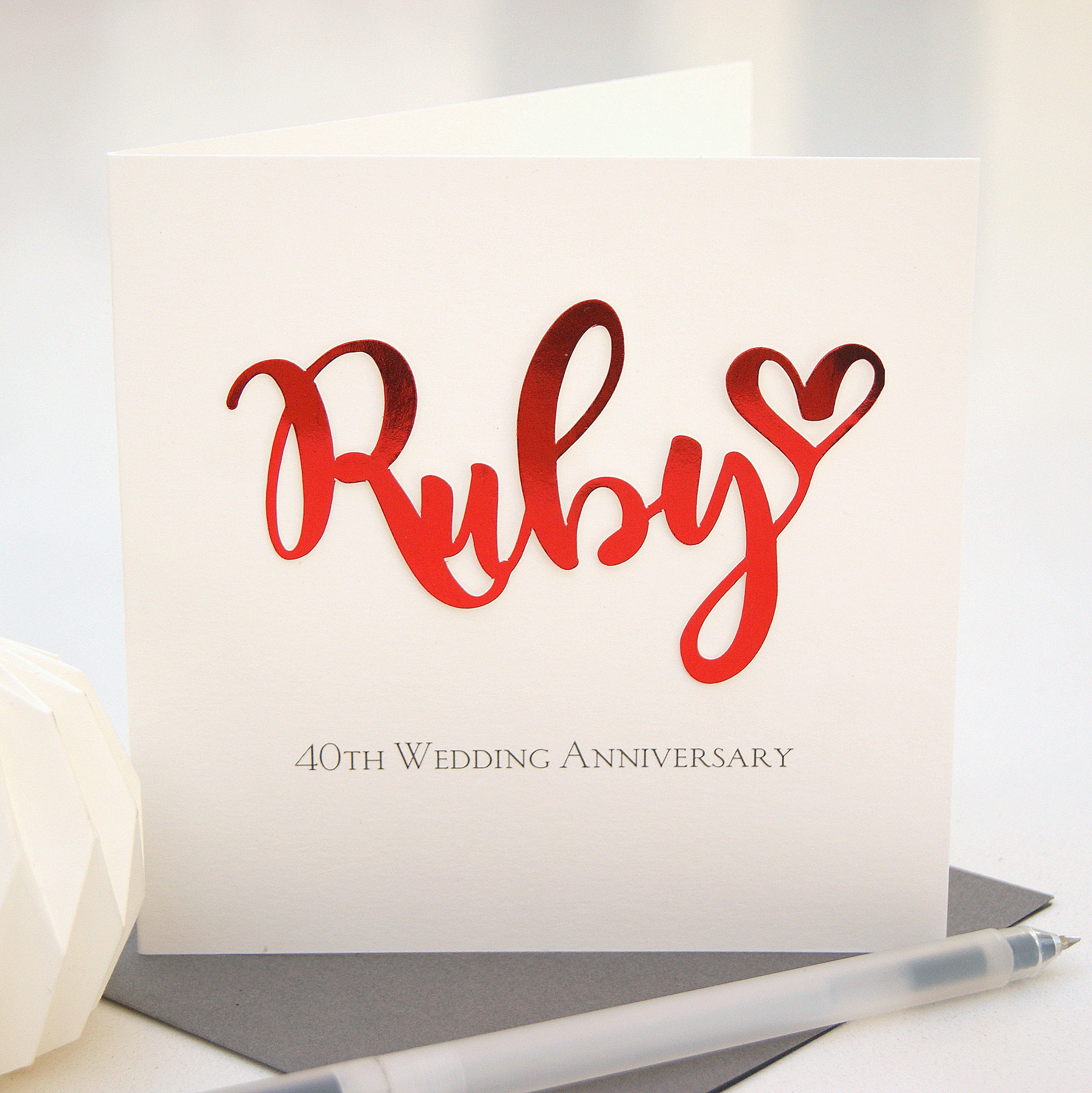 ruby 40th wedding anniversary card - Wedding Anniversary Cards