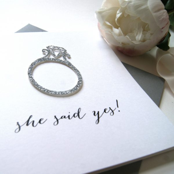 Engagement Card 'She Said Yes'