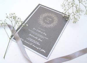 SPARIKLE LAYERED FOILED INVITE SILVER PEWTER