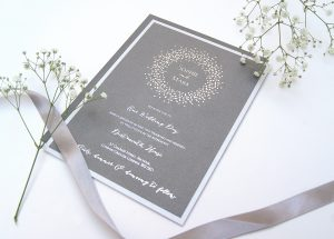 SPARIKLE LAYERED FOILED INVITE SILVER PEWTER  edit