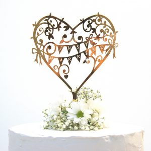 Wedding Cake Topper Rose Gold Mirror Garden Party