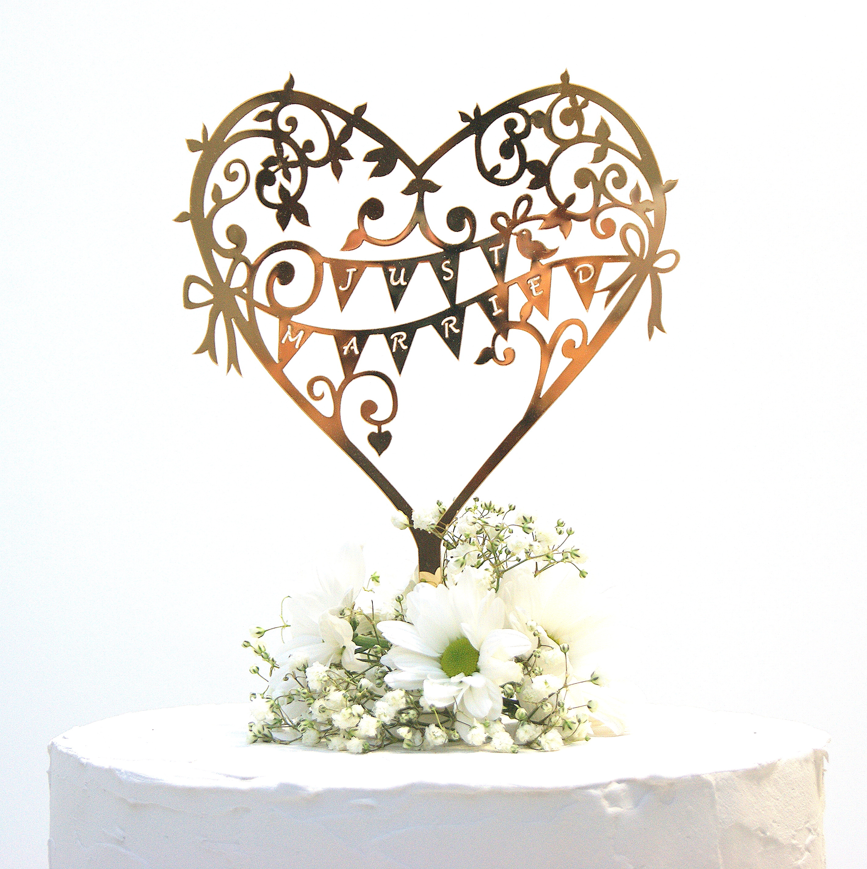 Wedding Cake Topper Rose Gold Mirror Garden Party | Shop ...