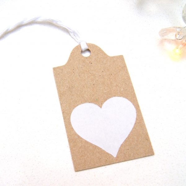 White letter press printed heart eco craft gift tag with white twine