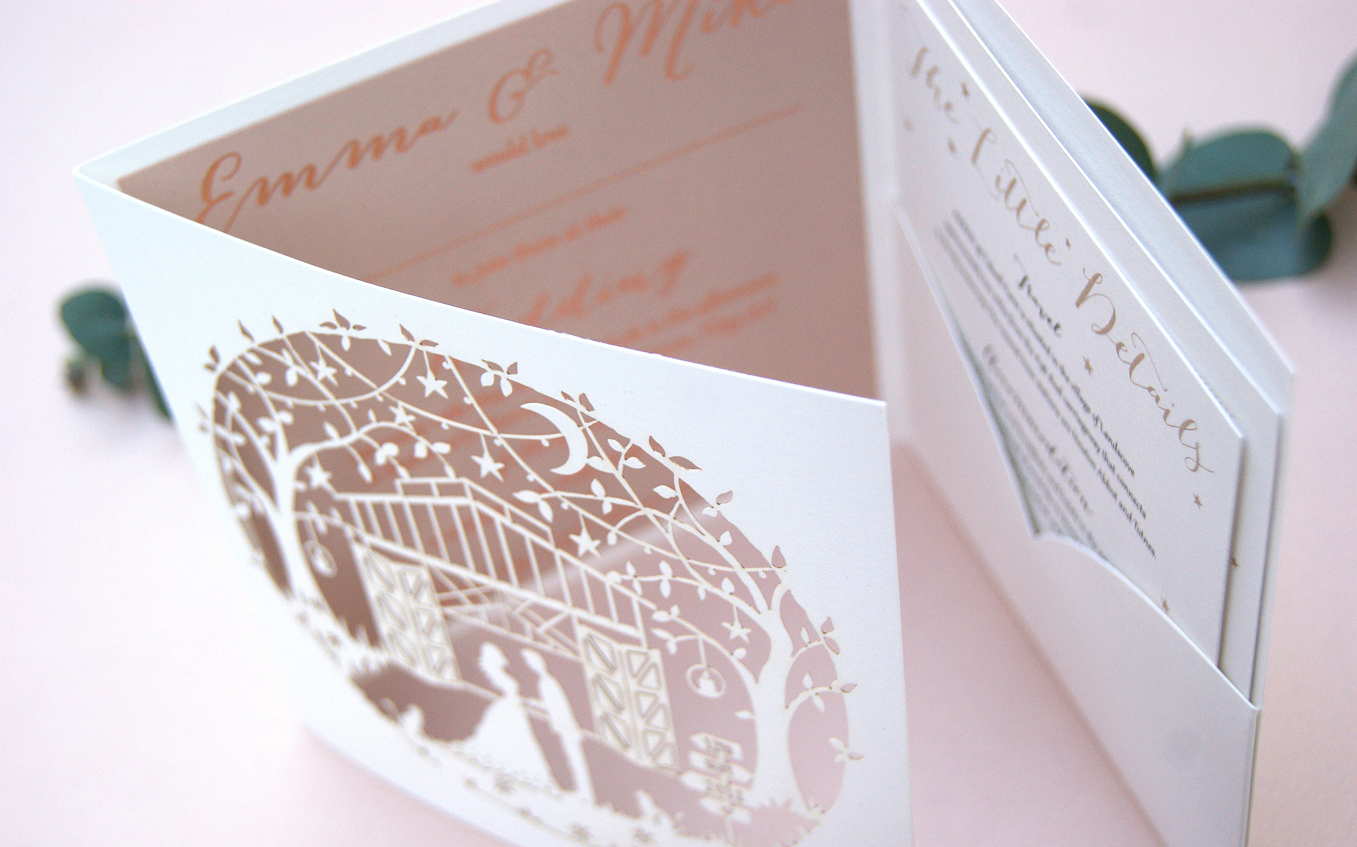 EMMA AND MIKE BESPOKE LASER CUT AND FOILED STARS AND MOON WEDDING INVITATION