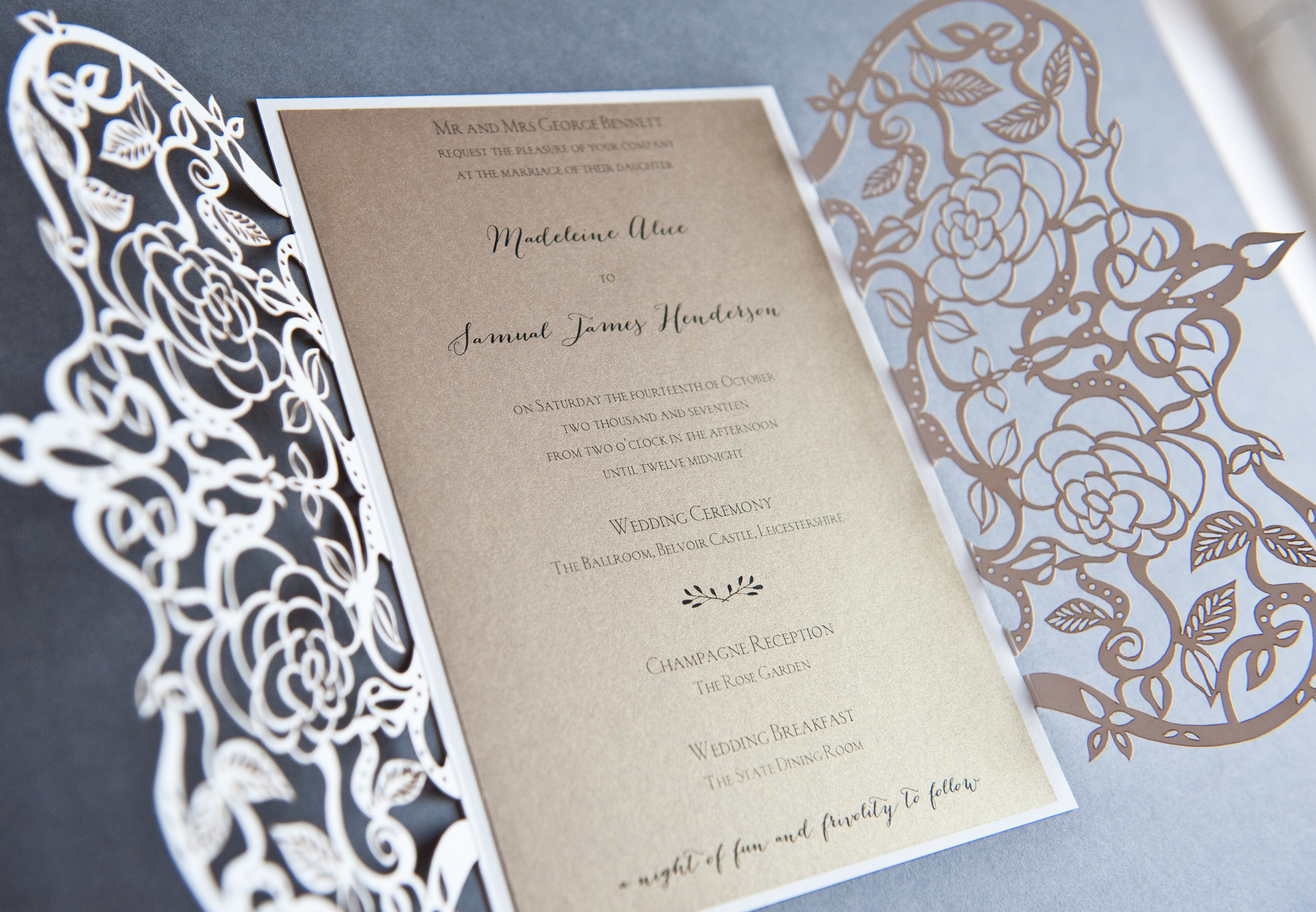Ethereal Laser cut invite