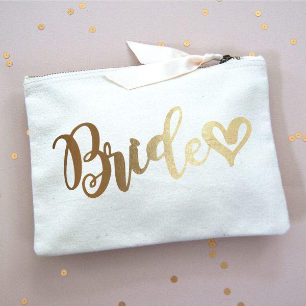 BRIDE MAKE UP BAG GOLD FOIL
