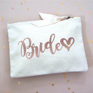BRIDE MAKE UP BAG ROSE GOLD GLITTER