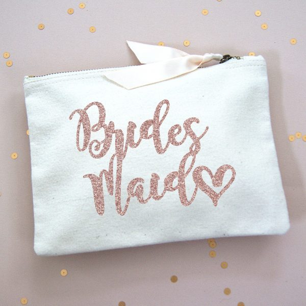 BRIDESMAID MAKE UP BAG ROSE GOLD GLITTER