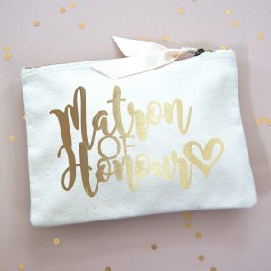 MATRON OF HONOUR MAKE UP BAG GOLD FOIL