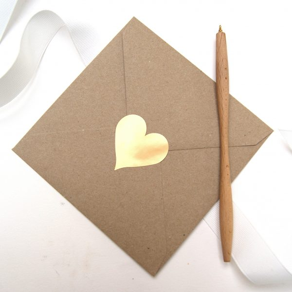 gold heart on eco craft envelope