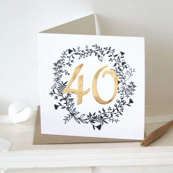 luxe gold 40th birthday card