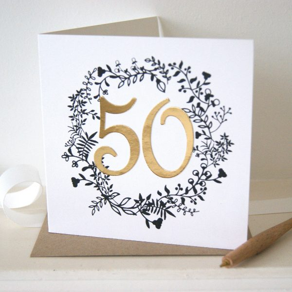 Luxe Gold 50th Birthday Card Shop Online Hummingbird Card Company