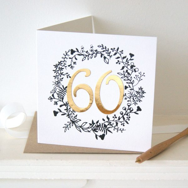 Luxe Gold 60th Birthday Card Shop Online Hummingbird Card Company