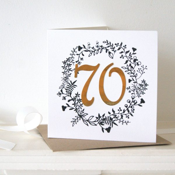 luxe gold 70th birthday card