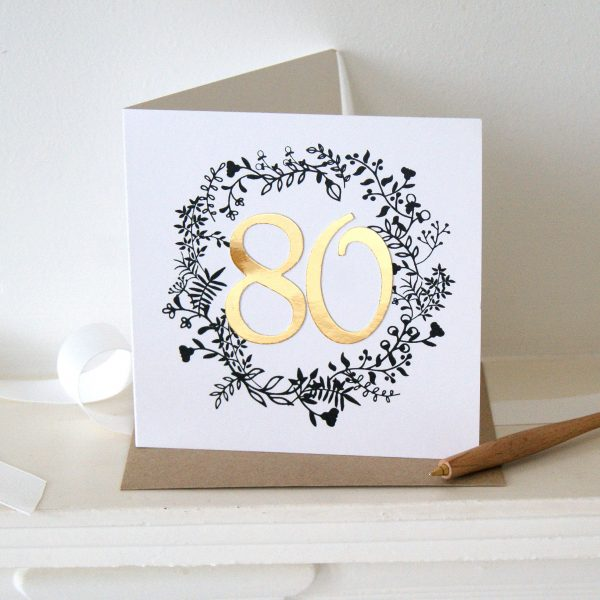 luxe gold 80th birthday card