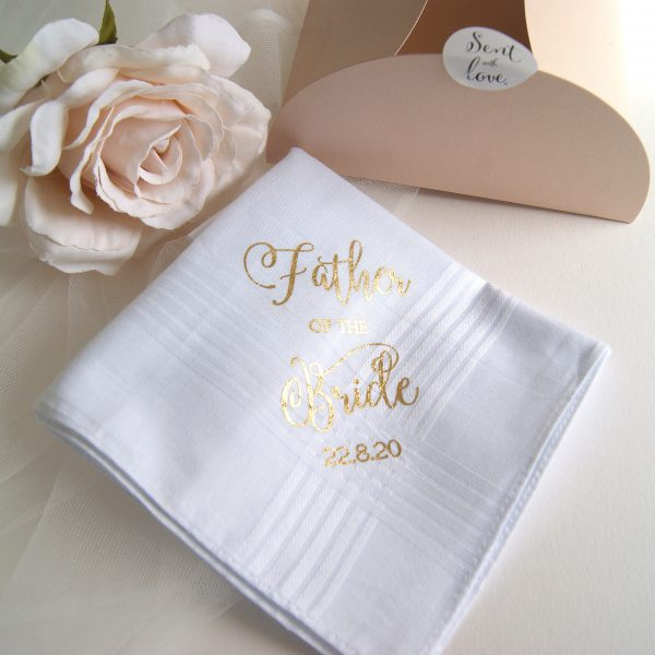 Father of the Bride Wedding Hankie Gold