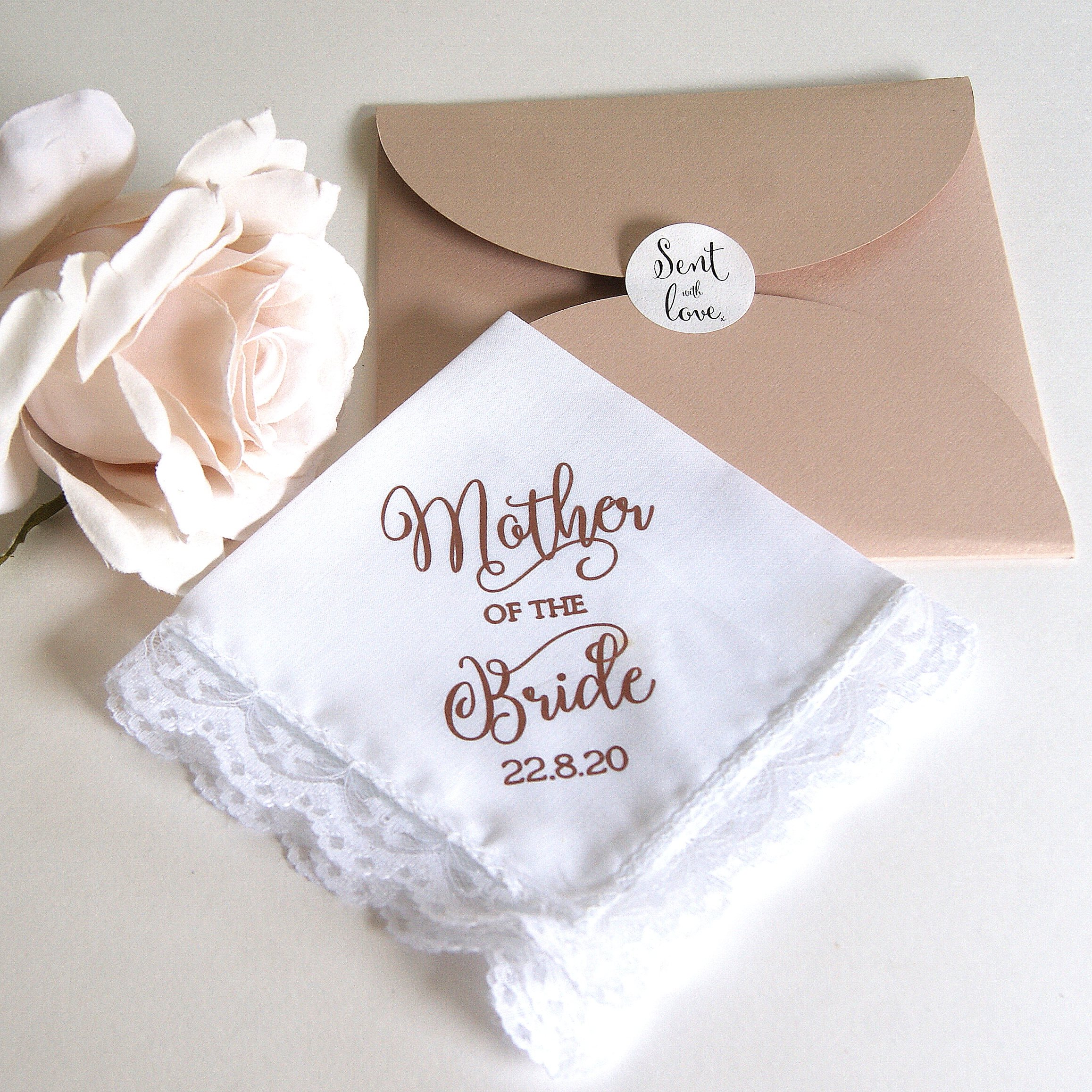 Mother of the Bride Wedding Hankie Rose Gold