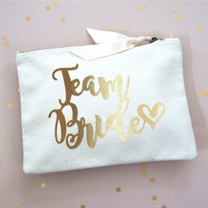 TEAM BRIDE MAKE UP BAG GOLD FOIL