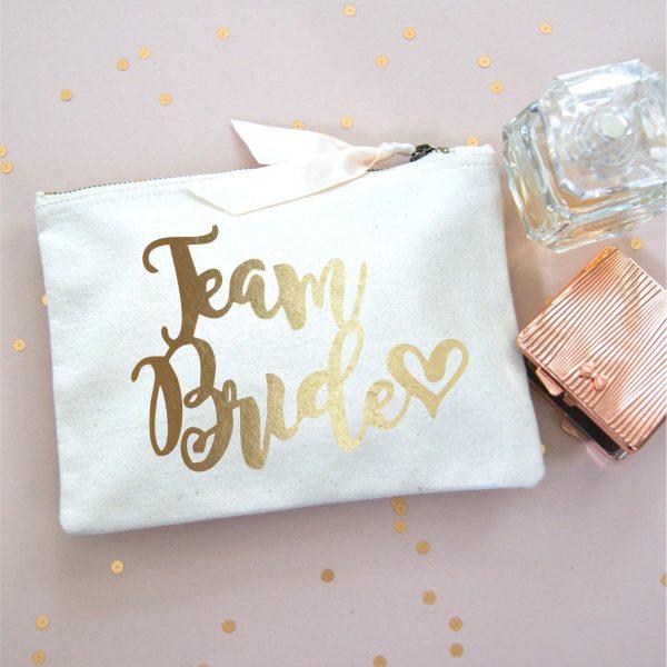 TEAM BRIDE MAKE UP BAG GOLD FOIL